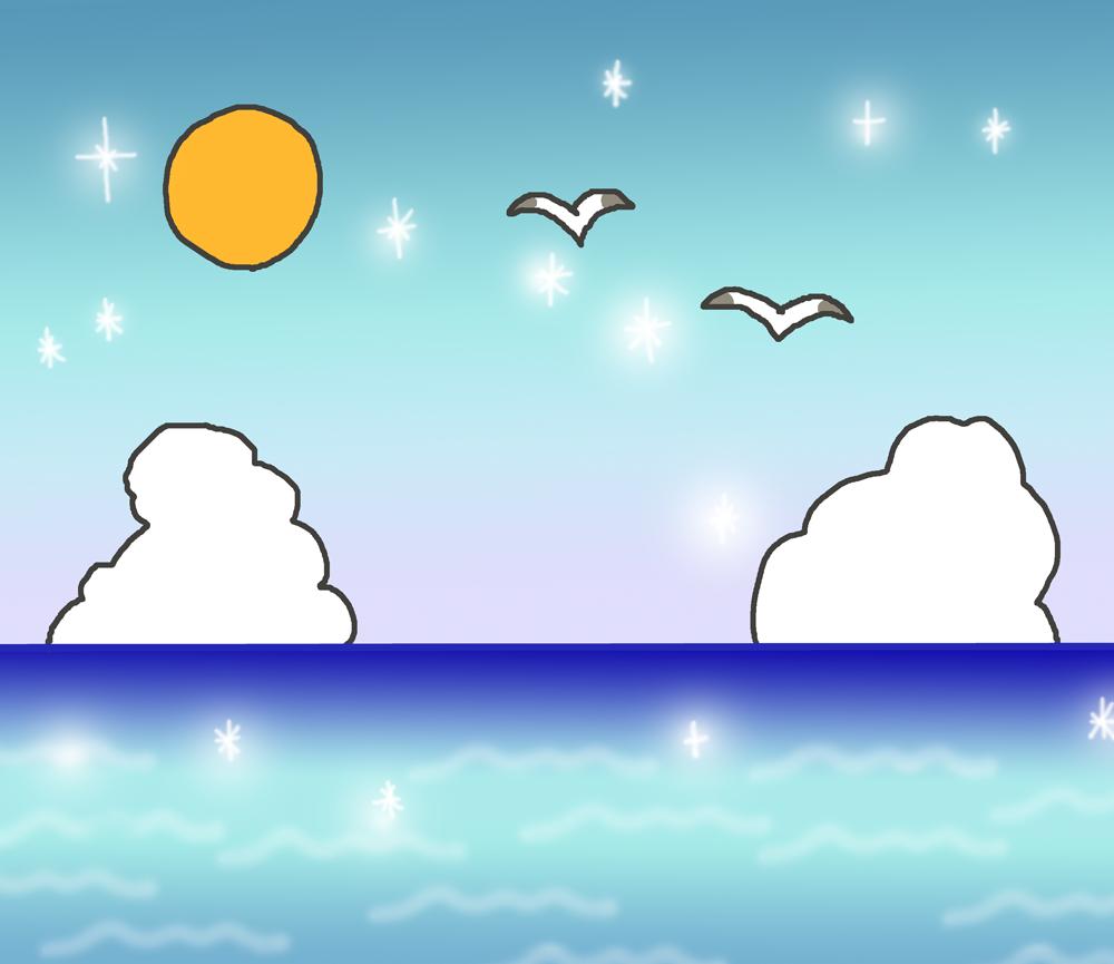 海の景色のイラスト