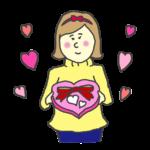 バレンタインチョコを渡す女性のイラスト