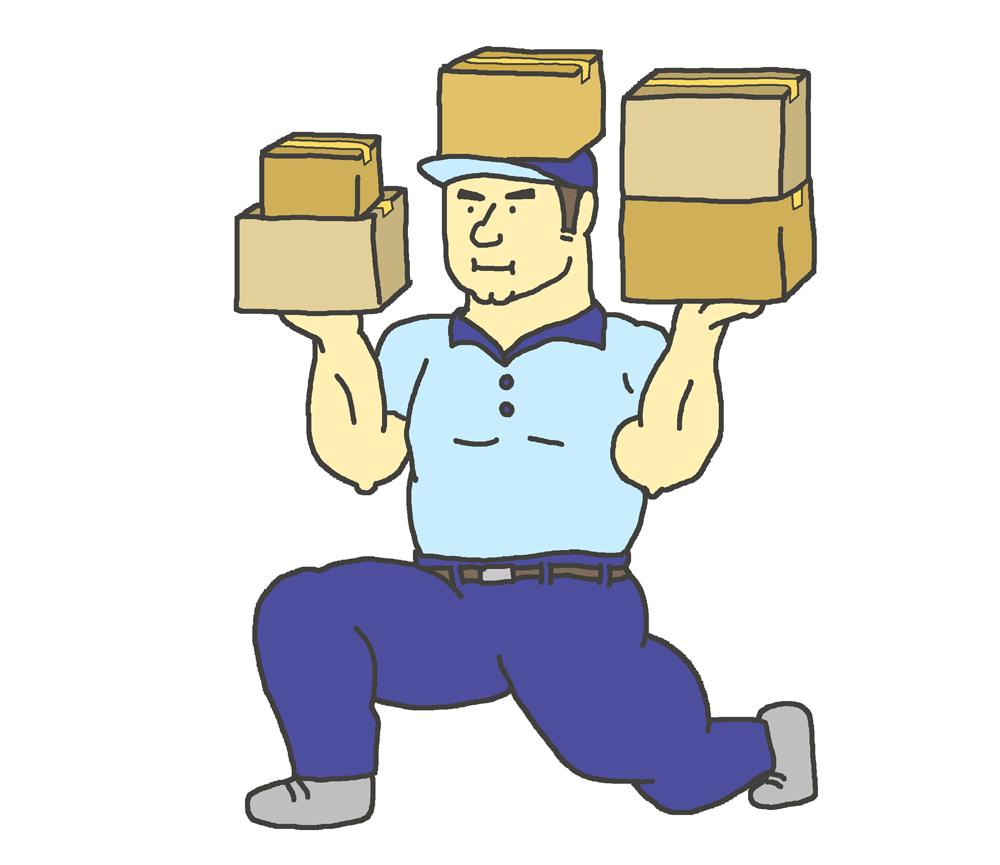 荷物を軽々持ち上げる引っ越し業者の男性