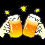 ビールジョッキで乾杯のイラスト