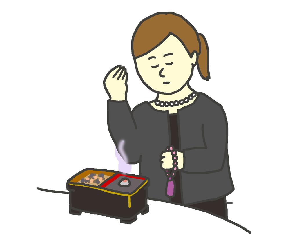 お焼香する女性のイラスト