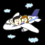 飛行機で旅行へ行く男女のイラスト