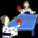 温泉卓球のイラスト