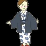温泉の浴衣を着た女性のイラスト