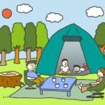 家族でキャンプをしているイラスト