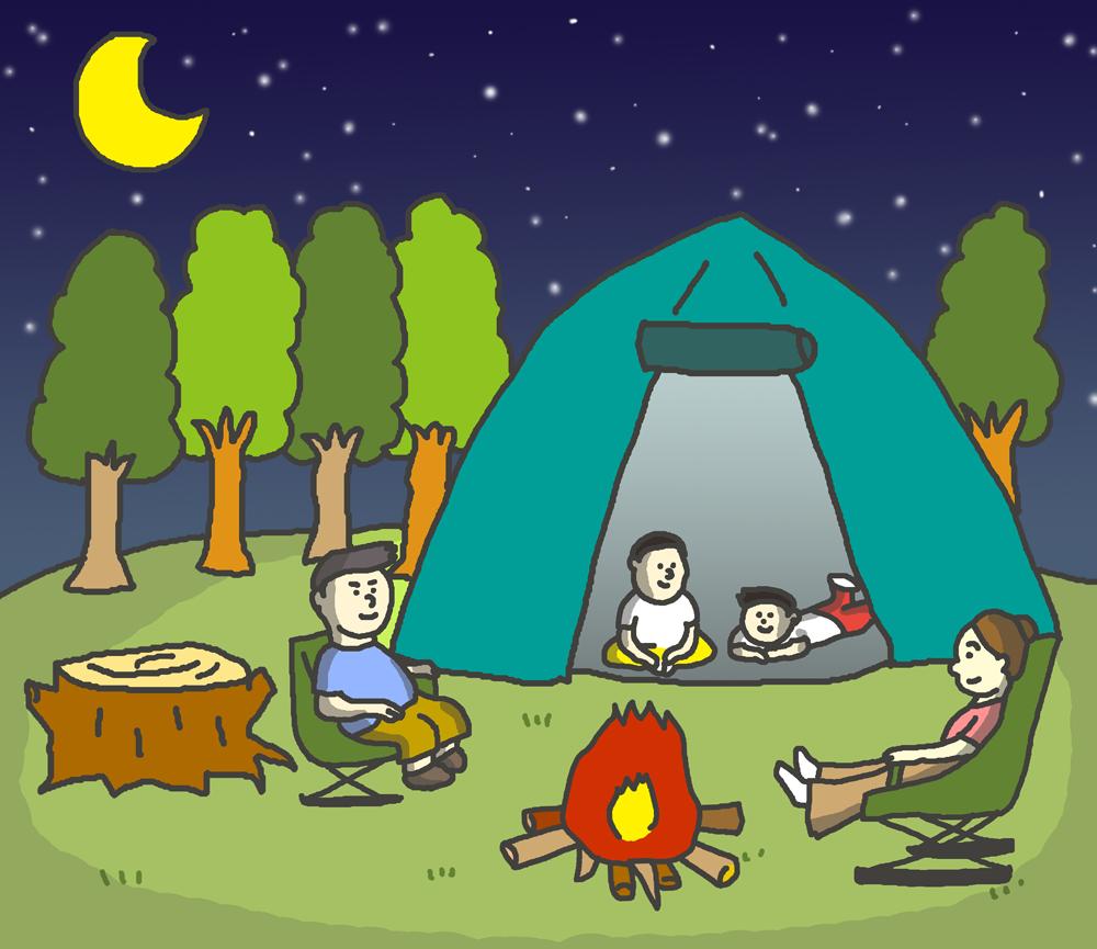 夜キャンプのイラスト