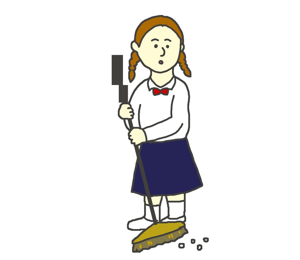 掃き掃除をする女子生徒のイラスト