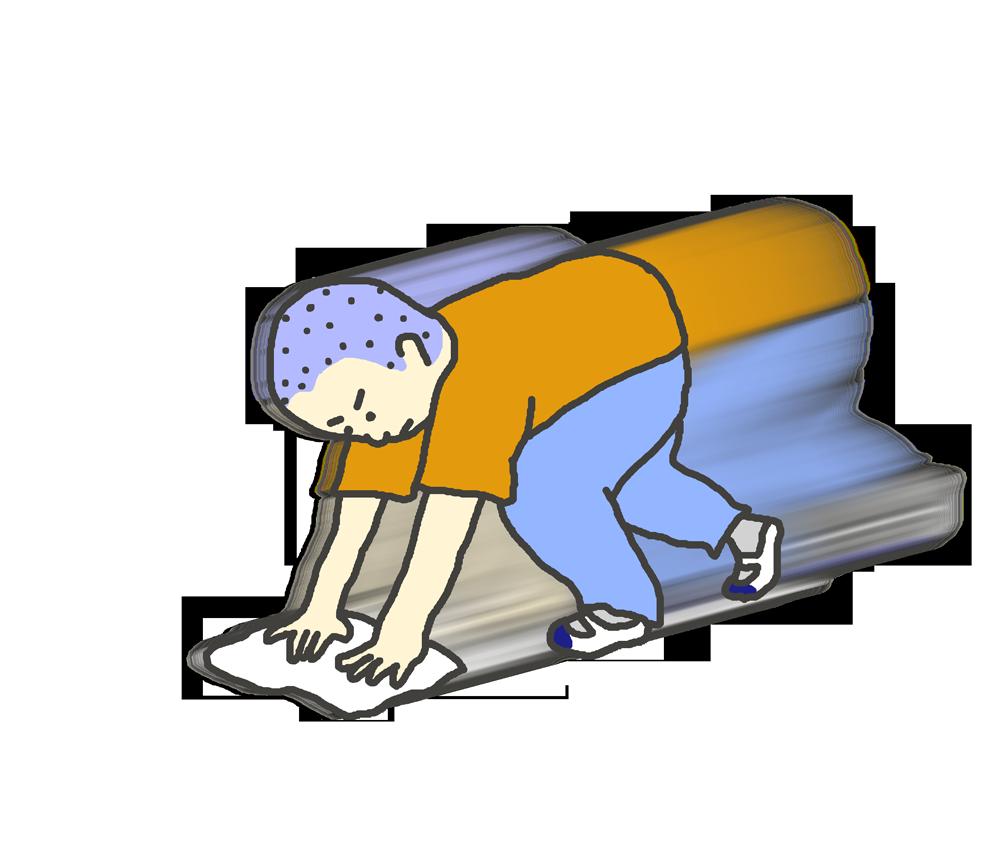 雑巾がけをする男子学生のイラスト