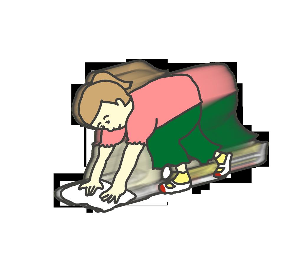 雑巾がけをする女子学生のイラスト