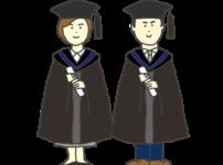アカデミックドレスを着た男女学生