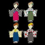 いろいろな袴を着た女性