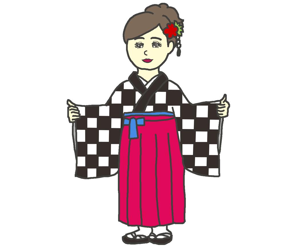 市松模様の袴のイラスト
