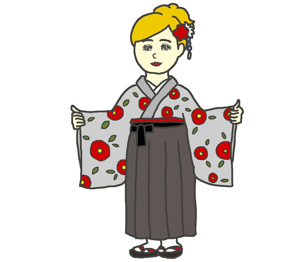 椿柄の袴のイラスト