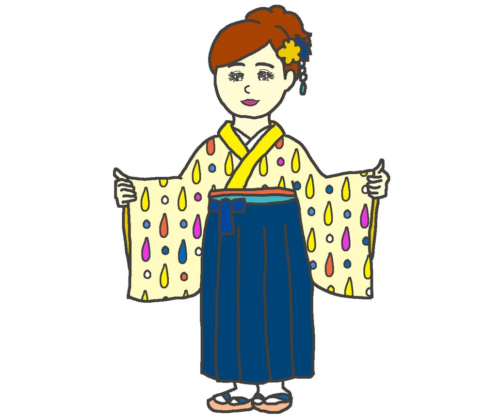 黄色しずく模様の袴のイラスト