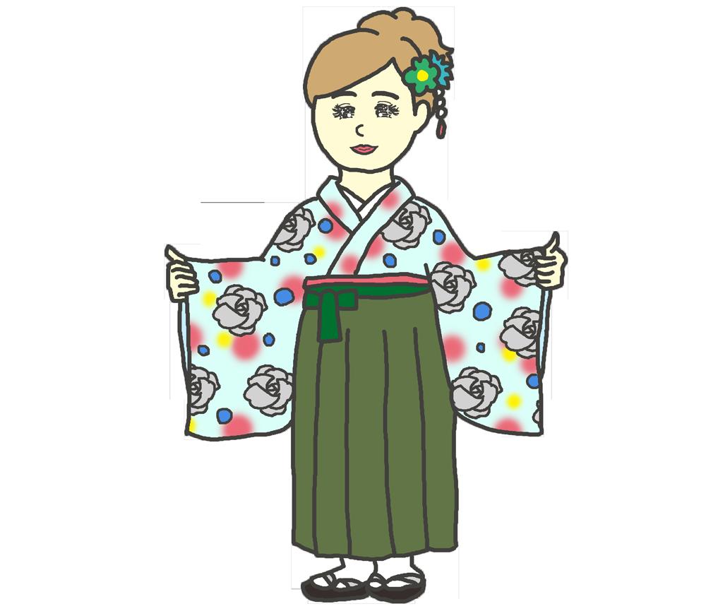 ばら模様の袴のイラスト