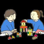 積み木で遊ぶ園児のイラスト