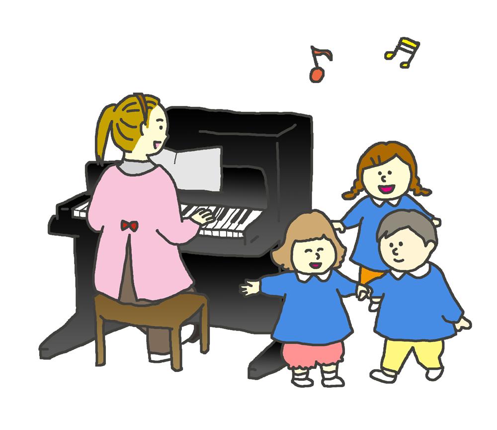 歌を歌う園児のイラスト