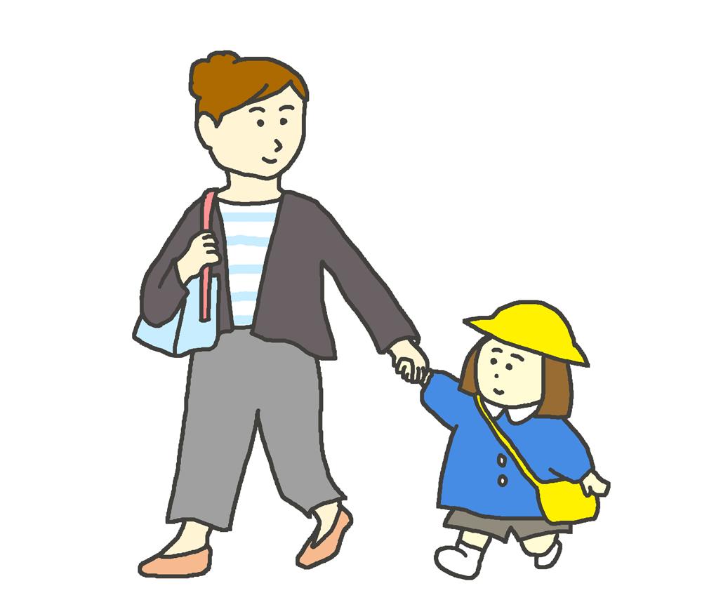 お母さんと手をつなぐ園児のイラスト
