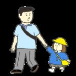 お父さんと手をつなぐ園児のイラスト