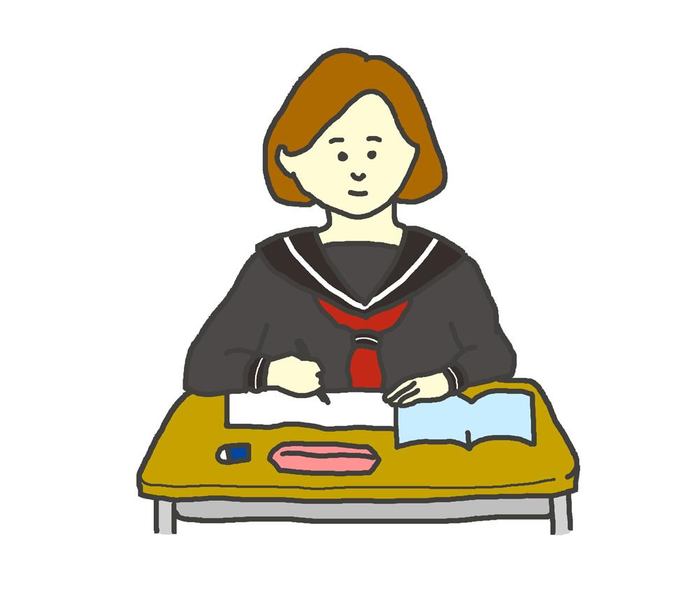 授業を受ける学生のイラスト