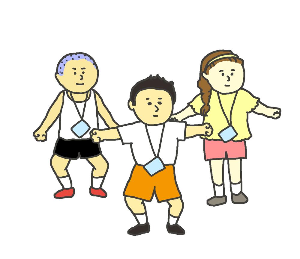 ラジオ体操をする子供たちのイラスト