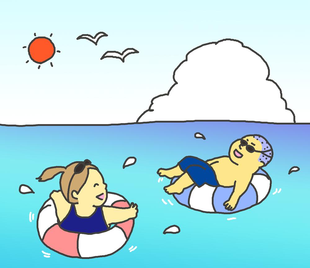 海水浴をする子供たちのイラスト