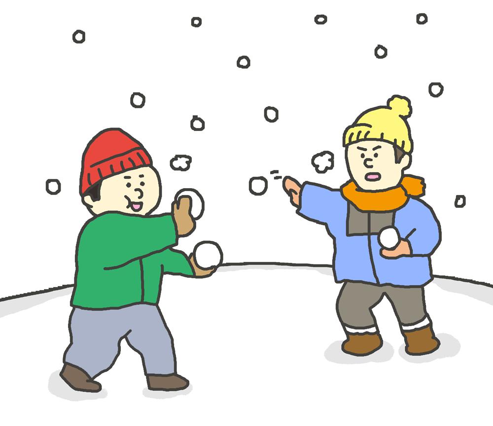 雪合戦をしている子供たちのイラスト