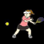 テニスをする女性のイラスト