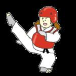 女子テコンドー選手のイラスト