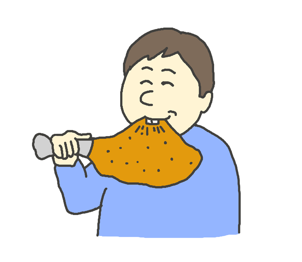 骨付き肉を食べる男性のイラスト