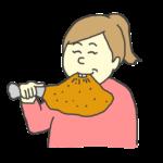 骨付き肉を食べる女性のイラスト