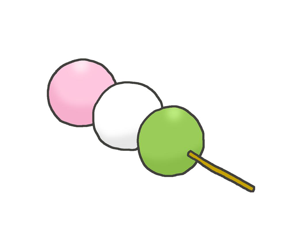 3色団子和菓子イラスト素材02 イラスト無料かわいいテンプレート