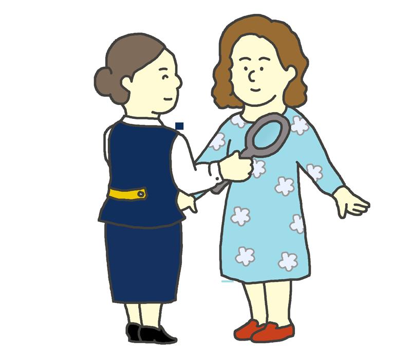 空港保安検査を受ける女性のイラスト