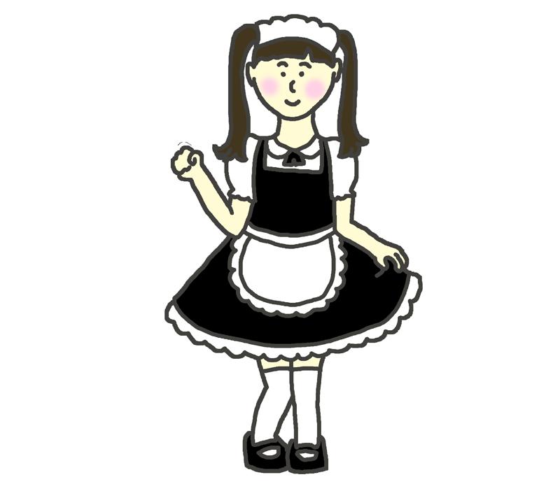 メイドのコスプレをした女の子のイラスト