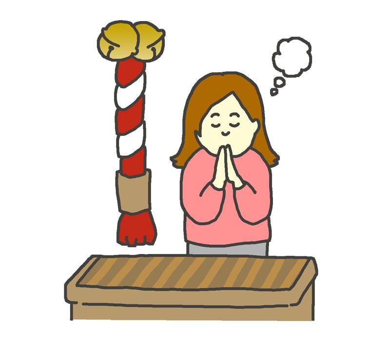神社で参拝する女性のイラスト
