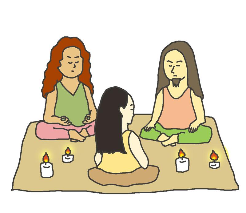 集団瞑想のイラスト