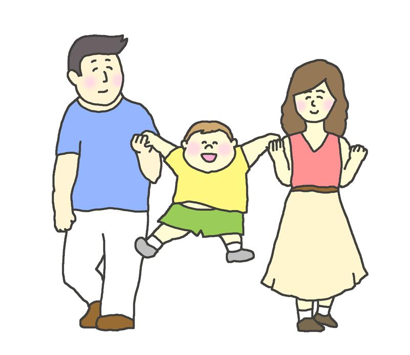 手を繋いで歩く家族(両親と子供)のイラスト