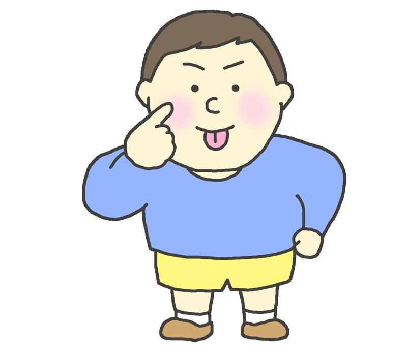 あっかんベーをする子供(男の子)のイラスト