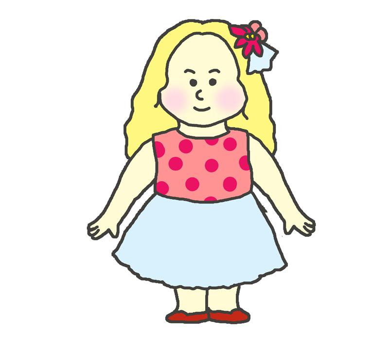 白人の子供(女の子)のイラスト