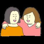 肩を組んで笑う女性のイラスト