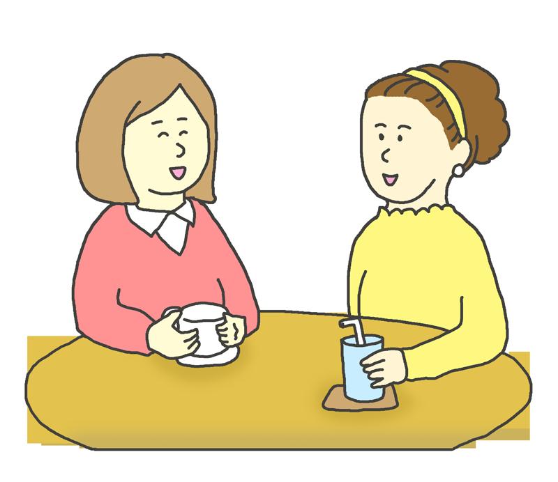 お茶をする若い女性のイラスト