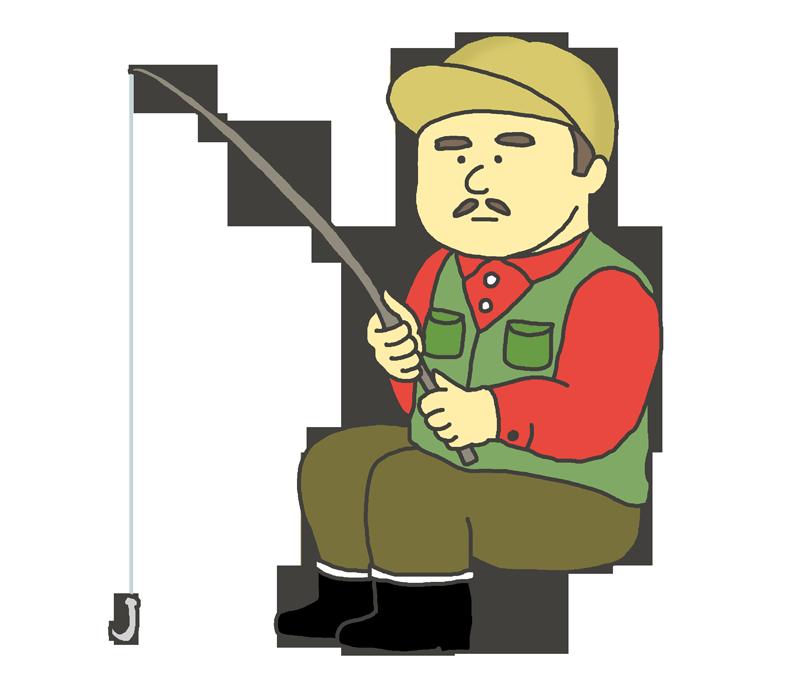 釣りをするおじさんのイラスト
