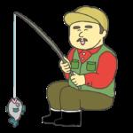 魚が釣れて喜ぶおじさんのイラスト