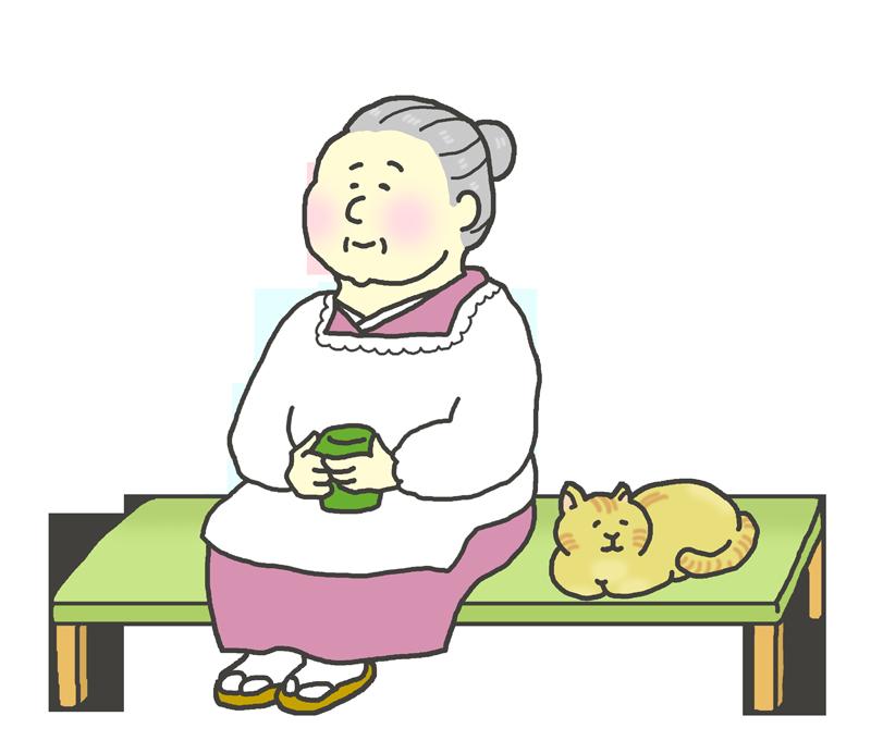 縁側でくつろぐおばあさんと猫
