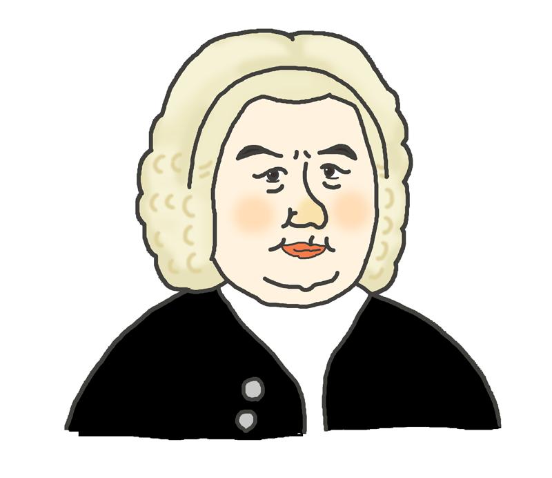 作曲家バッハの似顔絵イラスト