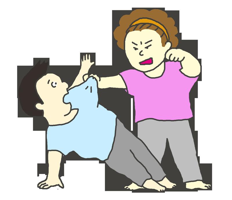 男性に暴力をふるう女性(ケンカ)