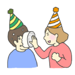 顔面にケーキをぶつけられる人のイラスト
