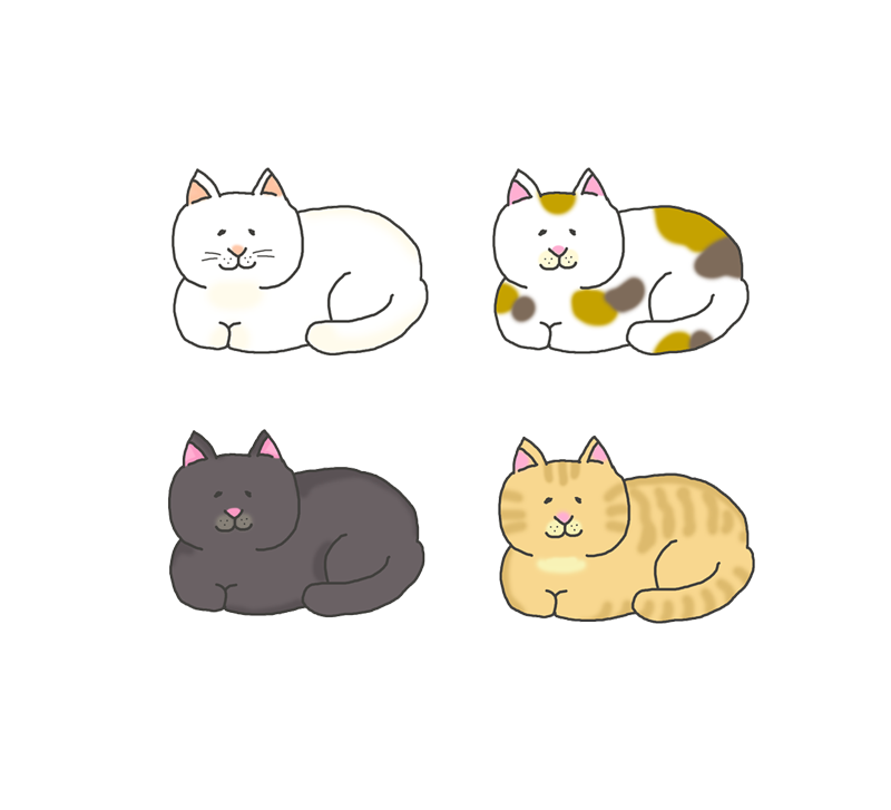香箱座りをする色々な模様の猫