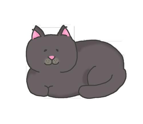 香箱座りをする黒猫のイラスト