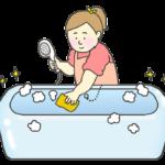 お風呂掃除をする女性のイラスト